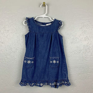 Hanna Andersson Size 100 Denim Eyelet Dress
